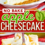 two image collage showing side and front views of a slice of apple cheesecake. center color block with text overlay.