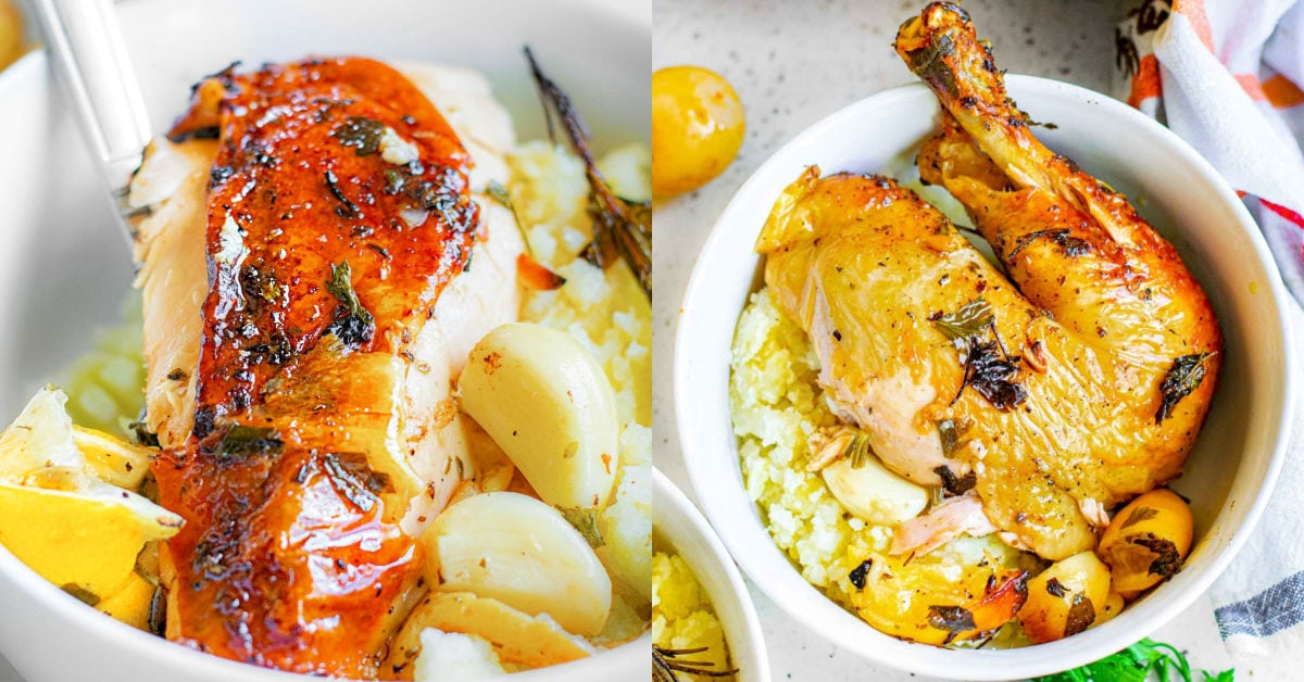 two image collage with pieces of chicken ready to be enjoyed from a roasted chicken.