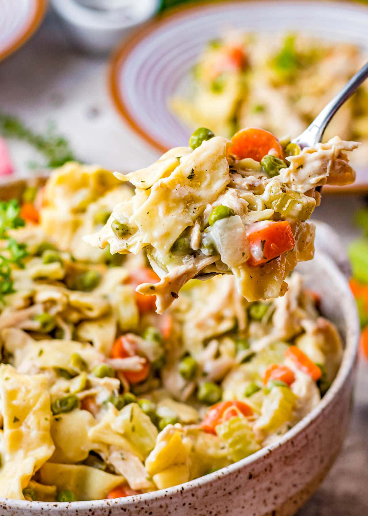 spoonful of chicken noodles dish being held up over the serving bowl.g
