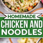 two image collage with chicken and noodles in serving bowl and on fork. center color block with text overlay.