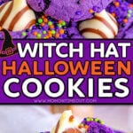 two image collage showing witch hat cookies that are purple with hershey's hugs. Bottom image shows a cookie with a bite taken. center color block with text overlay.