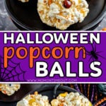 two image collage showing halloween decorated popcorn balls on black cake stand. center color block with text overlay.