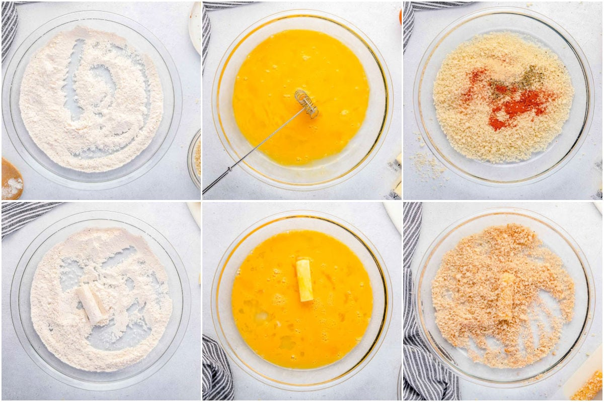 six image collage showing how to prepare mozzarella sticks for air frying.