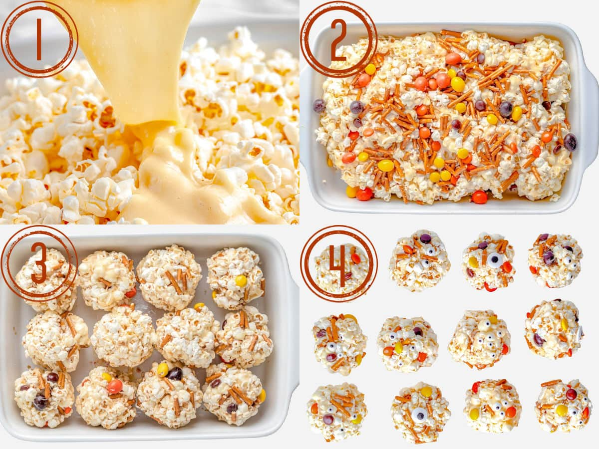 four image collage showing how to make halloween popcorn balls