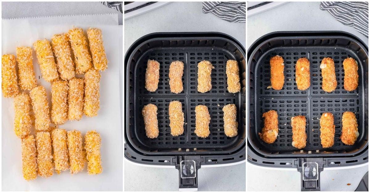 frozen mozzarella sticks in air fryer three image collage.
