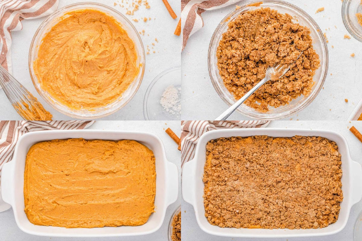 four image collage showing how to make pumpkin cake with streusel topping.
