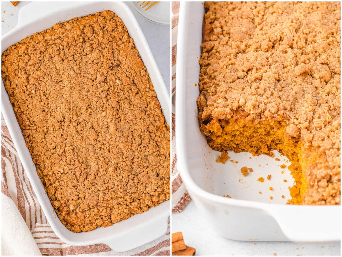pumpkin cake with streusel topping 2 image collage. One cake is whole and one has a piece removed.